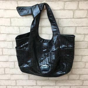Authentic Jimmy Choo metallic blue hobo bag